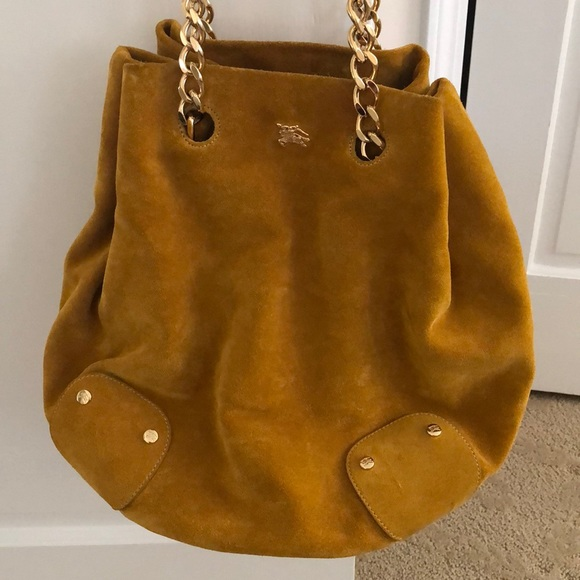 f459e0e1fd Burberry yellow suede bucket bag with gold chain